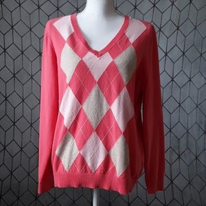 Izod Coral Argyle Pullover Sweater